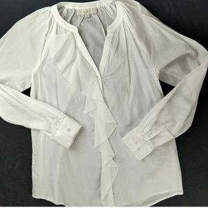 LOFT Cotton Ruffle Button Down Blouse